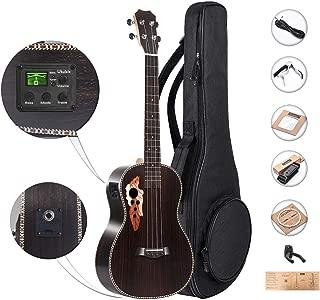 Caramel CB500 30 Inch All Rosewood Baritone LCD color display Electric Ukulele Professional Wooden ukelele Kit Beginner Guitar ukalalee Starter Pack Bundle Gig bag Strap Aquila Strings Set