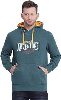 t-base Green Printed Hooded Sweatshirt-Sweatshirts for Men