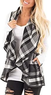 AKEWEI Sleeveless Vest Women Casual Color Block Open Front Plaid Cardigan Jacket with Pockets