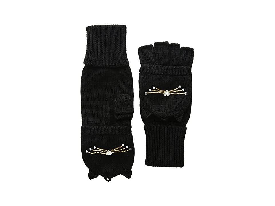 Kate Spade New York Embellished Cat Pop Top Mitten (Black) Gore-Tex Gloves