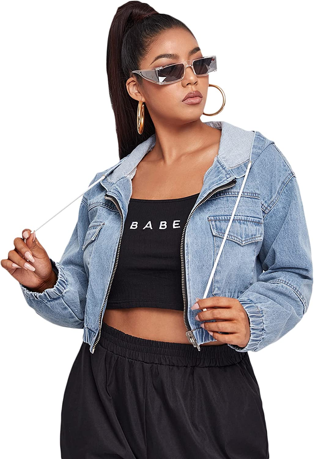 Floerns Women's Plus Size Drawstring Hoodie Long Cheap super special price Max 53% OFF Up D Zip Sleeve