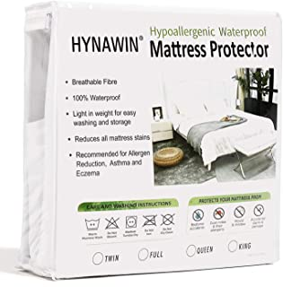 HYNAWIN Mattress Protector Smooth Fabric Protector-Vinyl Free Mattress Protector