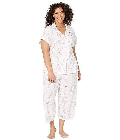 LAUREN Ralph Lauren Plus Size Cotton Rayon Jersey Knit Notch Collar Dolman Capri Pajama Set (Pink Floral) Women