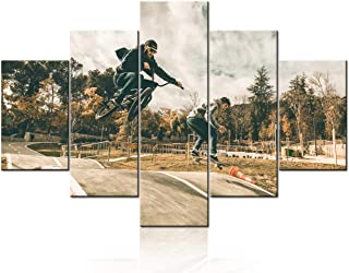 TUMOVO BMX Bike Wall Art Prints Vintage Canvas Wall Art Cool Sports Bicycle Rider Poster Print Modern Man Boy's Bedroom Of...