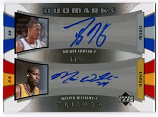 2005-06 Upper Deck Trilogy DWIGHT HOWARD MARVIN WILLIAMS Rookie DuoMarks #HW Rare Dual Signed Card Serial Numbered #75/75 SP Auto RC Orlando Magic Atlanta Hawks