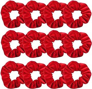 GUVASS 12 Pack Hair Scrunchies Red Velvet Elastics Scrunchy Bobbles Soft Hair Bands Hair Ties