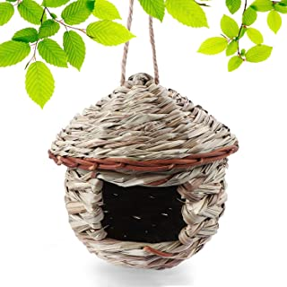 Tenforie Bird House for Outside, Resting Place for Birds, Hanging Natural Grass Bird Nest, Hummingbird House Handcrafted Hut - House