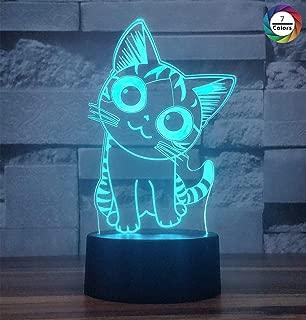 Cherish tea 3D Illusion Night Light, 7 Colors Gradual Changing - Desk Bedroom Decor LED Optical Illusion Lamps for Kids Baby Boys or Girls (Smiley Cat)