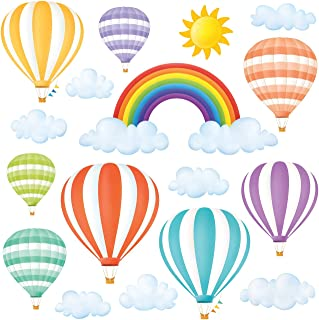 DECOWALL DWT-1801 Rainbow and Hot Air Balloons Kids Wall Stickers Wall Decals Peel and Stick Removable Wall Stickers for Kids Nursery Bedroom Living Room