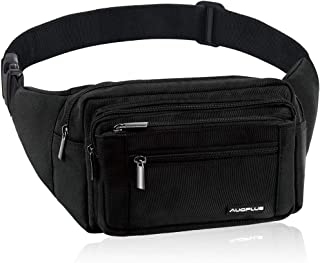 AUOPLUS Fanny Pack for Men/Women, Multi Pocket Belt Bag Outdoor Waist Pouch Hip Bumbag with Adjustable Strap & Extension for Hiking/Workout/Vacation/Travelling (Black)