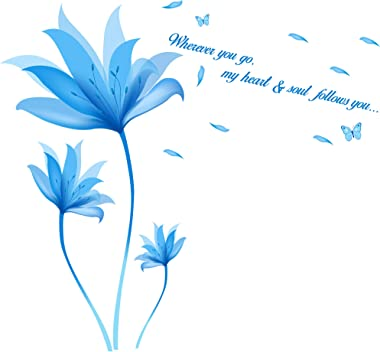 Amazon Brand - Solimo Wall Sticker for Bedroom (Beautiful Blue Flowers Quote ), Ideal Size on Wall: 105 x 95 cm