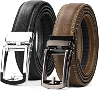 Set of 2 Leather Ratchet Dress Belt for Men Perfect Fit Waist Size up to 44 inches with Automatic Buckle