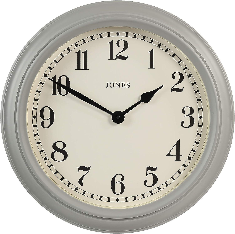 Jones Clocks Opera House Large Wall Clock Classic Design Matt Grey or bluee, Cream Face & Black Hands 50cm (Pepper Grey)