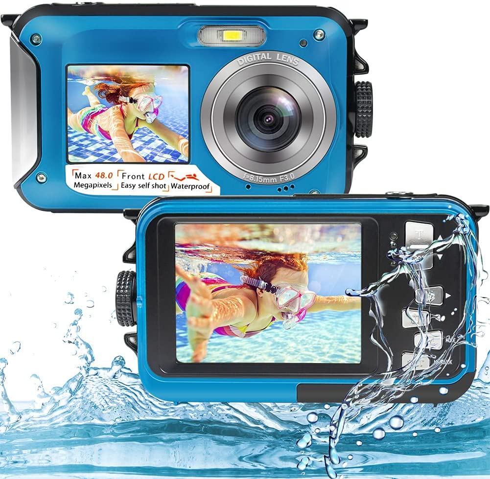 Underwater Camera Full HD 2.7K 48MP Waterproof Camera for Snorkeling Dual Screen Waterproof Camera Digital with Self-Timer and 16X Digital Zoom (WPC-1) : Electronics