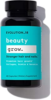 EVOLUTION_18 Beauty Grow Capsules | Supplements with Collagen, Biotin & Keratin | For Healthy Skin, Nails & Hair Growth | ...