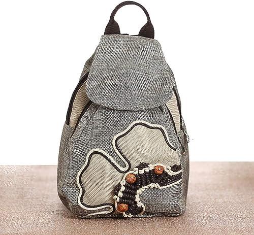 C&S Leichte Rucksack Lady Outdoor Reisen Dual-Use Schulranzen Handtasche Gewebt Knapsack National Style