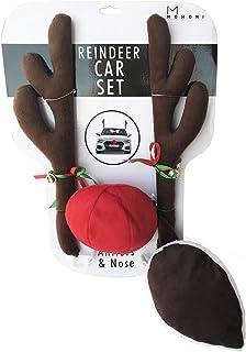 کولر اتومبیل MOMONI Premium Reindeer Antlers ، Nose ، Tail - Rudolph Set Reindeer کریسمس دکوراسیون اتومبیل لوازم جانبی اتومبیل