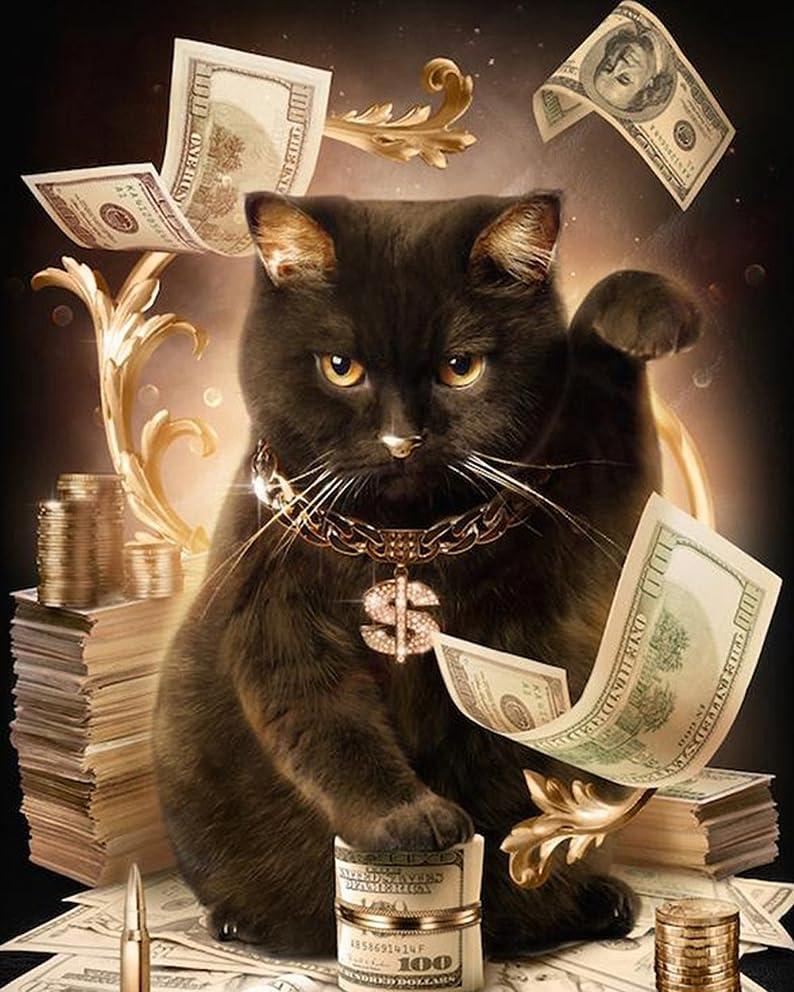 "Full Drill Diamond Embroidery ""Fortune cat"" Painting with Diamonds Mosaic Rhinestone Picture Needlework (11.8"
