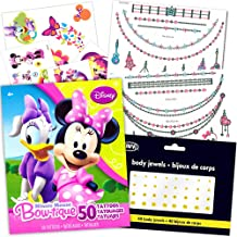 Minnie Mouse Tattoos Party Favor Super Set -- Over 100 Pieces (18 Flash Metallic Jewelry Tattoos, Over 50 Standard Temporary Tattoos, 40 Jewel Stickers)