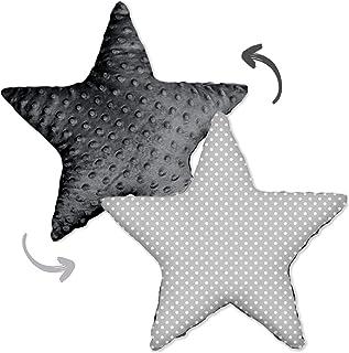 Dekorativa kuddar barnrum kudde stjärna – plyschkudde för barn prydnadskudde, flickor och pojkar (grå Minky – vita pricka...