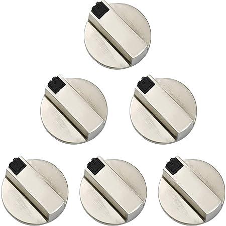 Hentek 6 Pièces Bouton Plaque de Cuisson, Universal 6 mm Boutons pour Interrupteur De Commande pour Cuisine Cuisinière Réchaud à Gaz Four de Cuisson,