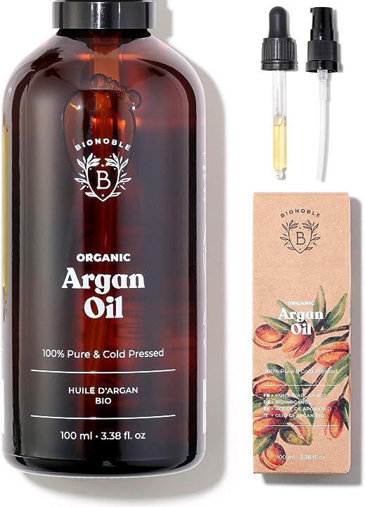 Olio di argan puro 100% biologico, naturale e pressato a freddo | con pompa e pipetta in vetro bionoble HVCB-ARGAN-0100