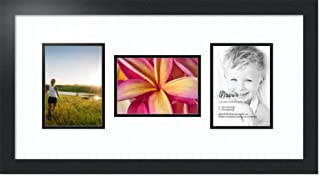 ArtToFrames Double-Multimat-114-61/89-FRBW26079 Collage Photo Frame Double Mat with 3-5x7 Openings and Satin Black Frame, Super White, 3-5x7