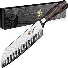 Kessaku Santoku Knife - Samurai Series - Japanese Etched High Carbon Steel, 7in