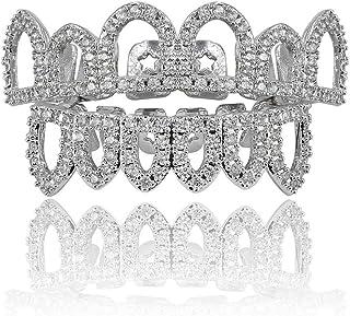 Moca Jewelry Halloween Prank Hollow Unisex 18 carati placcato in oro con diamante cz simulato diamante singola fila fondo ...