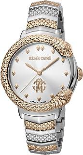 ROBERTO CAVALLI Women's RC-87 Stainless Steel Swiss Quartz Watch Tone Strap, Rose Gold, 18 (Model: RV1L113M0096)