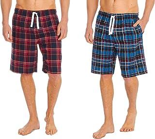 INSIGNIA Mens Woven Pyjamas Lounge Shorts Bottoms Check (2 Pack)