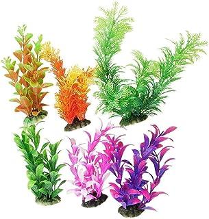 CNZ 6 Piece, Assorted Color Aquarium Plastic Plant Decoration with Ceramic Base