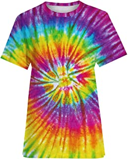 Mogogo His-and-Hers Tops Rainbow Oversized Short Sleeve Tie-Dye T-Shirt