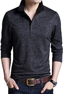 [YFFUSHI] メンズ ポロシャツ polo tシャツ ゴルフウェア ゴルフシャツ 無地 長袖 着心地良い スポーツ S-2XL