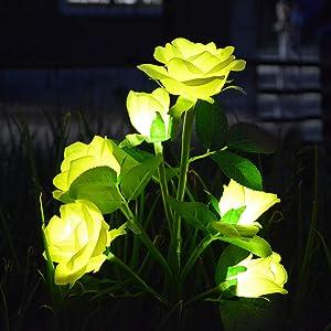 Awinking Solar Rose Flowers Stake Lights, Waterproof Solar Rose Flower Yard Decorations Lights with 6 Yellow Flowers, Decorative Solar Garden Lights for Garden, Yard, Patio, Grave Vase