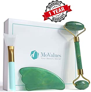 Authentic Jade Roller and Gua Sha Set - Jade Roller for Face - Face Roller, Real 100% Jade - Face Massager for Wrinkles, Anti Aging - Natural, Durable, No Squeaks - with Mask Brush