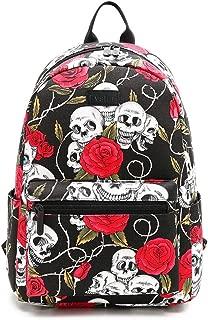 "Fvstar Skull Cute Teen Girls Canvas Backpack Purse Mini School Bag Casual Women Backpack for 14"" Laptop"