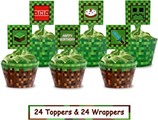 Pixel Cupcake Toppers and Wrapper Happy Birthday Party Printable Cake Decoration Block Games Inspired Supplies 24pcs
