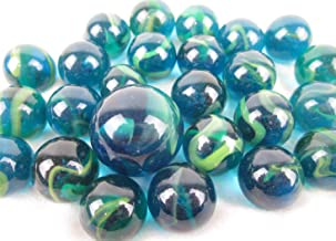 Big Game Toys~25 Glass Marbles SEA Turtle Blue/Green Translucent Swirl Classic Style Game Pack (24 Player, 1 Shooter) Decor/Vase Filler/Aquarium