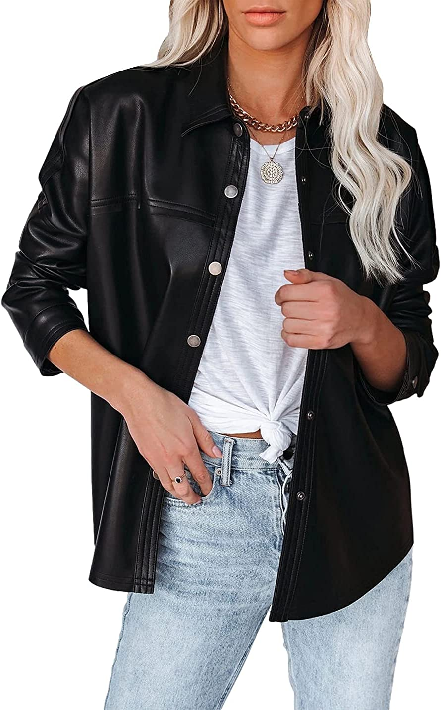 Xishiloft Womens PU Leather Jacket Lapel Collar Long Sleeve Buttons Down Loose Casual Faux Suede Shirt Jacket