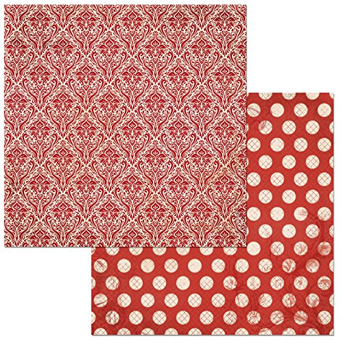 """Bo Bunny Wild Berry Double Dot Damask Scrapbooking Paper, 12"""" x 12"""", 25 Piece -  American Crafts, 7310173"""