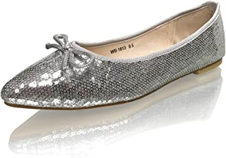 Womens Sequins Pointy Toe Bridal Formal Evening Comfort Flats