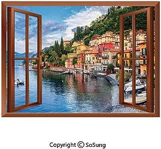 Italian Decor Removable Wall Sticker/Wall Mural,Summer Village by Mediterranean Sea with Yacht Boats Idyllic Town Panorama Creative Open Window design Wall Decor,24