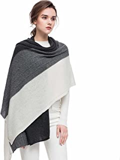 Women Scarves 100% Cashmere Winter Wrap Pashmina 65''x30'' Contrast Color Twist Knit Shawl