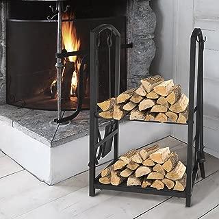 ART TO REAL Firewood Log Rack Fireplace Tool Sets Black Wrought Iron Firewood Storage Holder Fireplace Wood Carrier Fireside Lumber Stacking Log Bin Brush Shovel Poker Tongs 17.8 x 11.8 x 29.3in