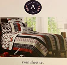Authentic Kids Twin Sheet Set - Red Fire Engine Truck On White