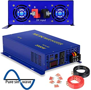 2000 Watt Pure Sine Wave Inverter 24V DC to 120V AC, 2000W Power Invert Surge 4000W Power Converter for Solar System. (2000W 24V 120V)