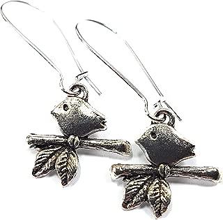 Minimal Bird on Branch Earrings, Mid length, in Silver tone