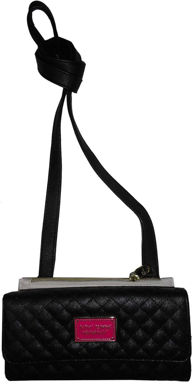Betsey Johnson Women's Wallet on a String, Top Zip Insert, Black