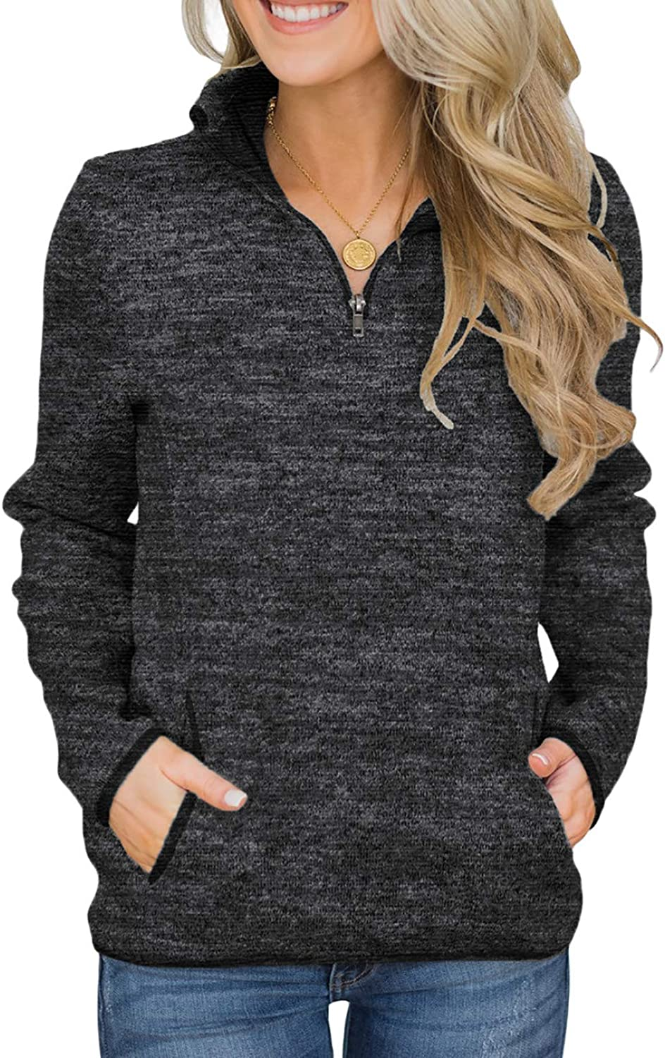 Aleumdr Women Casual Long Sleeve 1/4 Zipper Color Block Sweatshirts Stand Collar Pullover Tunic Tops with Pockets S-XXL